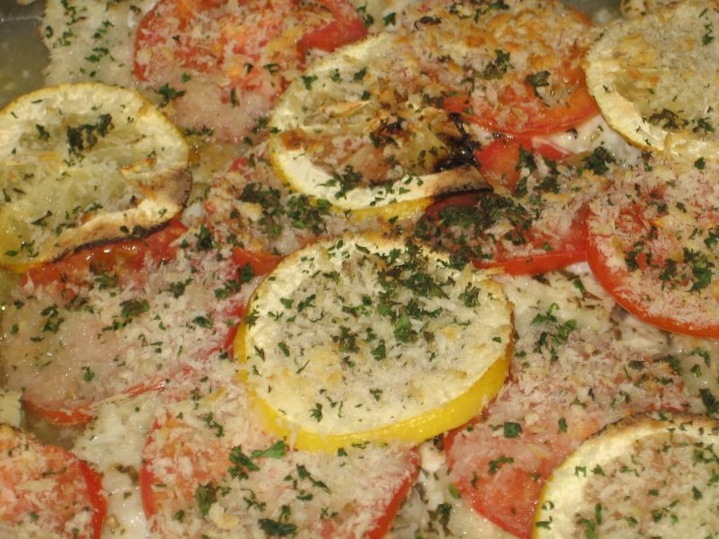 Baked Fish with Lemon, Tomato, Olive Oil, White Wine, Fresh ...