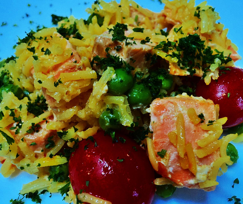 Basmati Rice with Salmon, Saffron, Peas, and Grape Tomatoes | Urban ...